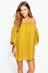 Boohoo Eli Angel Sleeve Pleated Crinkle Swing Dress Chartreuse