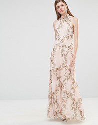 True Violet High Neck Pleated Maxi Dress In Rose Floral Light Multi Floral