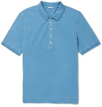 Massimo Alba Stretch Cotton Pique Polo Shirt Blue