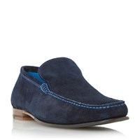 Loake Nicholson Contrast Stitch Suede Loafers Navy