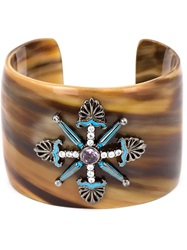 Mcl By Matthew Campbell Laurenza Fleur De Lis Motif Horn Bangle Brown