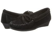 Minnetonka Kilty Wedge Black Suede Women's Shoes