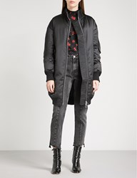 Moandco. Oversized Satin Quilted Down Blend Coat Black