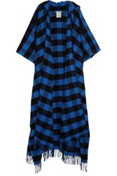 Balenciaga Checked Wool And Cashmere Blend Hooded Wrap Blue