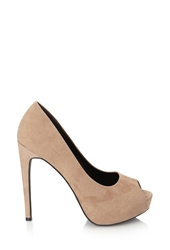 Forever 21 Faux Suede Peep Toe Pumps