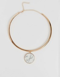 Monki Marble Circle Pendant Necklace Gold
