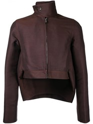 Rick Owens Cropped High Low Hem Jacket Men Cotton Polyester Viscose 48 Brown