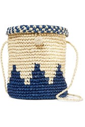 Nannacay Two Tone Woven Raffia Shoulder Bag Blue