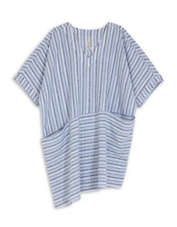 Melissa Mccarthy Seven7 Plus Striped Asymmetrical Shift Dress With Pockets Blue