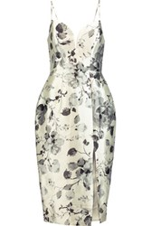 Zimmermann Floral Print Silk Twill Dress Off White