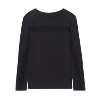 Gem And I Long Sleeve Lace Tee Black