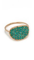 Ginette_Ny Fallen Sky Large Sequin Ring Turquoise Rose Gold