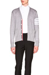 Thom Browne Classic V Neck Cardigan In Gray