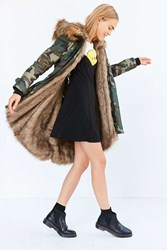 Silence And Noise Camo Faux Fur Lined Parka Multi