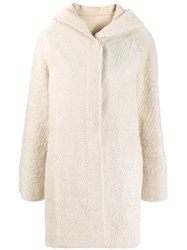 Drome Hooded Shearling Jacket Neutrals