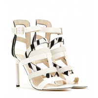 Jimmy Choo Vanquish Snakeskin And Leather Sandals White