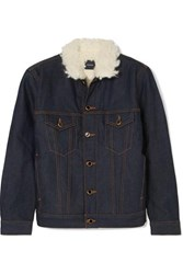 Khaite Sherpa Cate Faux Shearling Trimmed Denim Jacket Dark Denim