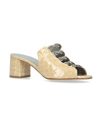 Gina Croc Leather Cosmos Mules 50 Nude