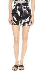 Whistles Pampus Print High Waisted Shorts Black Multi