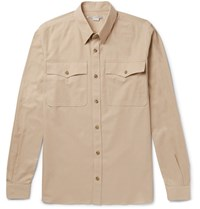 Stella Mccartney Button Down Collar Cotton Pique Shirt Sand