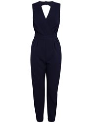Closet Wrap Cut Out Back Jumpsuit Navy