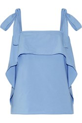 Paul And Joe Layered Cotton Blend Poplin Top Blue