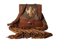 American West Winslow Fringe Flap Crossbody Mocha Chocolate Copper Cross Body Handbags Brown
