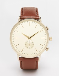 New Look Oversized Face Leather Watch Brown
