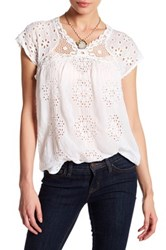 Johnny Was Short Sleeve Embroidered Blouse White