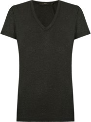 Andrea Marques Deep V Neck T Shirt Black