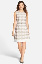 Hugo Boss 'Diemoni' Belted Houndstooth Tweed A Line Dress Pink
