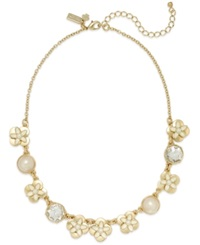 Kate Spade New York Gold Tone Enamel Flower And Faux Pearl Frontal Necklace