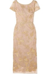 Marchesa Notte Embellished Embroidered Tulle Midi Dress Gold