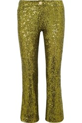 Balmain Cropped Sequined Stretch Tulle Flared Pants Gold