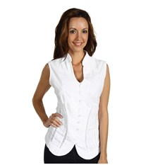 Scully Cantina Beautifully Detailed S L Blouse White Women's Blouse