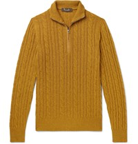 Loro Piana Suede Trimmed Cable Knit Baby Cashmere Zip Up Sweater Yellow