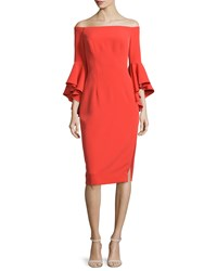 Milly Selena Off The Shoulder Sheath Dress Flame Size 4