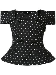 Monse Polka Dot Off Shoulder Shirt Black