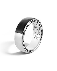 John Hardy Men's Classic Chain Silver Band Ring With Black Jade