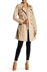 Steve Madden Double Breasted Belted Faux Suede Trench Coat Beige