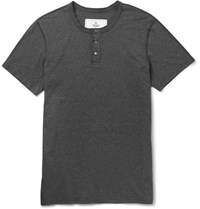 Reigning Champ Slim Fit Cotton Jersey Henley T Shirt Charcoal