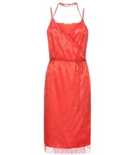 Nina Ricci Lace And Satin Dress Red