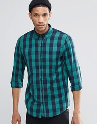 Pull And Bear Pullandbear Check Shirt In Green Navy In Regular Fit Green