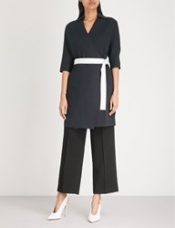 Moandco. Wrap Front Stretch Cotton Dress Peacoat