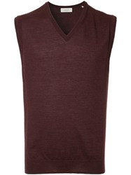 Cerruti 1881 Sleeveless Fitted Sweater Red