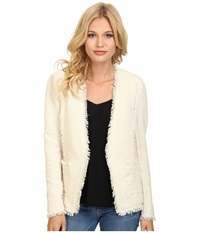 Rebecca Taylor Sparkle Stretch Blazer Cream Women's Jacket Beige