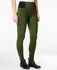 Rewash Juniors' Elastic Waist Ponte Knit Slim Pants Olive