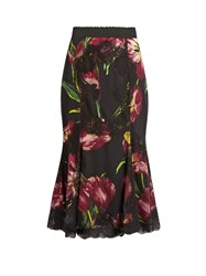 Dolce And Gabbana Tulip Print Lace Panelled Silk Blend Skirt Burgundy Multi