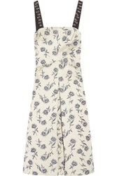 Tory Burch Grosgrain Trimmed Linen Blend Floral Jacquard Dress Ecru