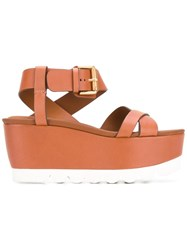 See By Chloe Strappy Platform Sandals Brown